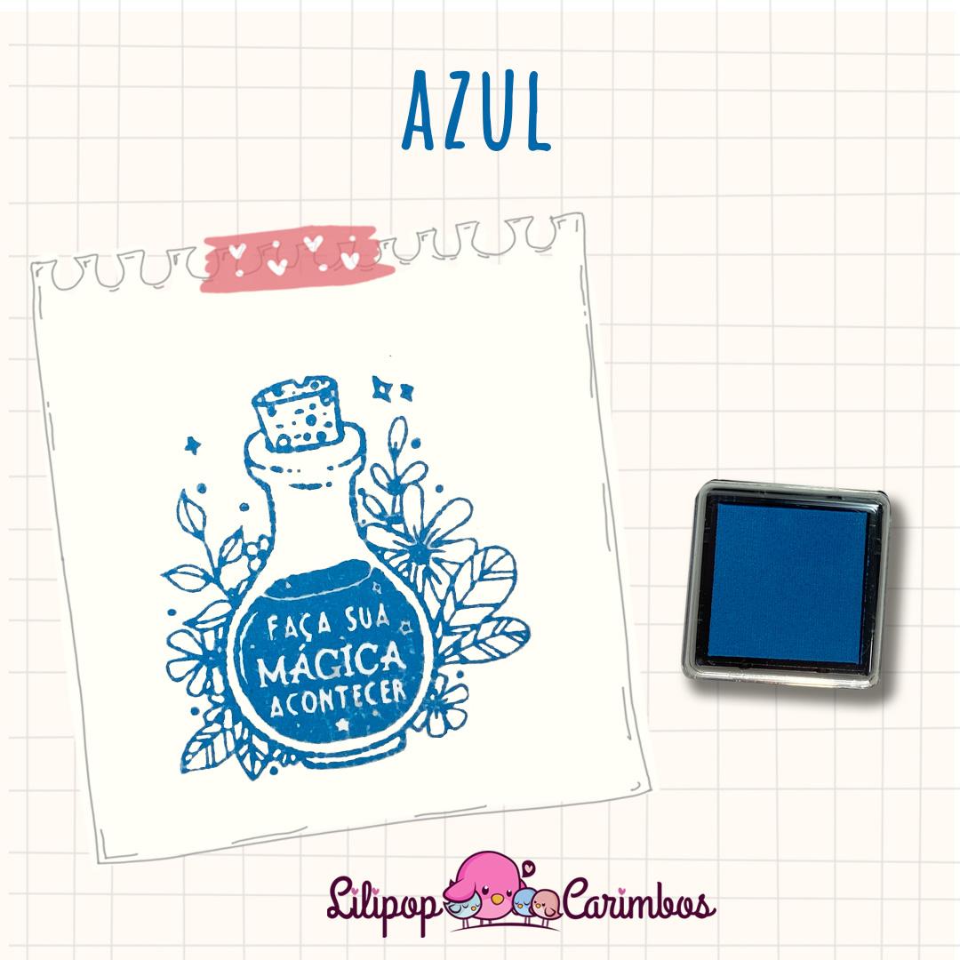 Mini Carimbeira - Cor Azul - Tinta pigmentada  - Lilipop carimbos