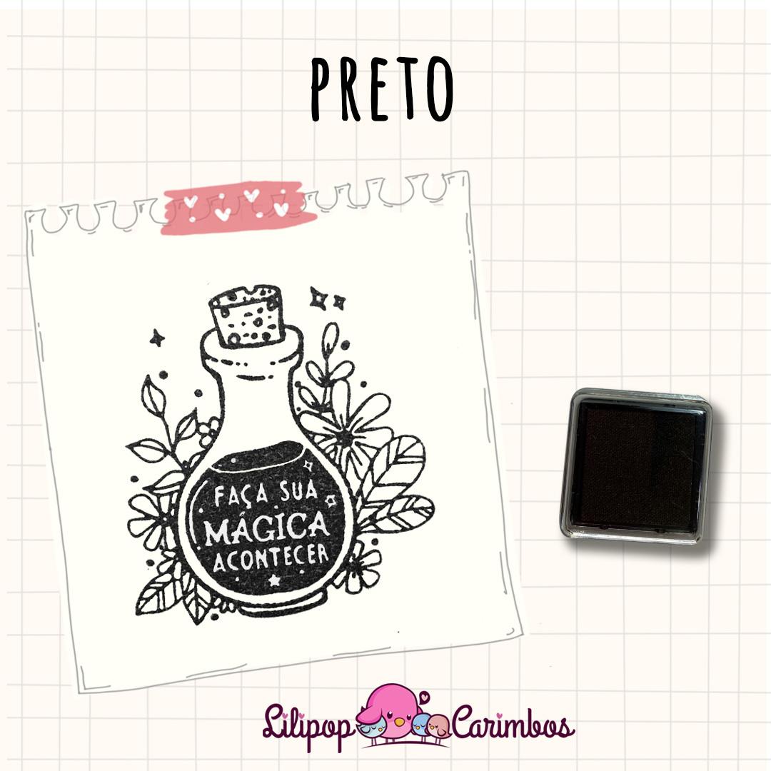 Mini Carimbeira - Cor Preta - Tinta pigmentada