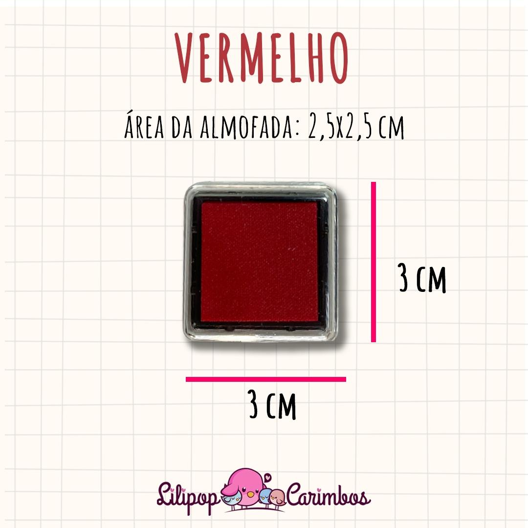 Mini Carimbeira - Cor Vermelho - Tinta pigmentada