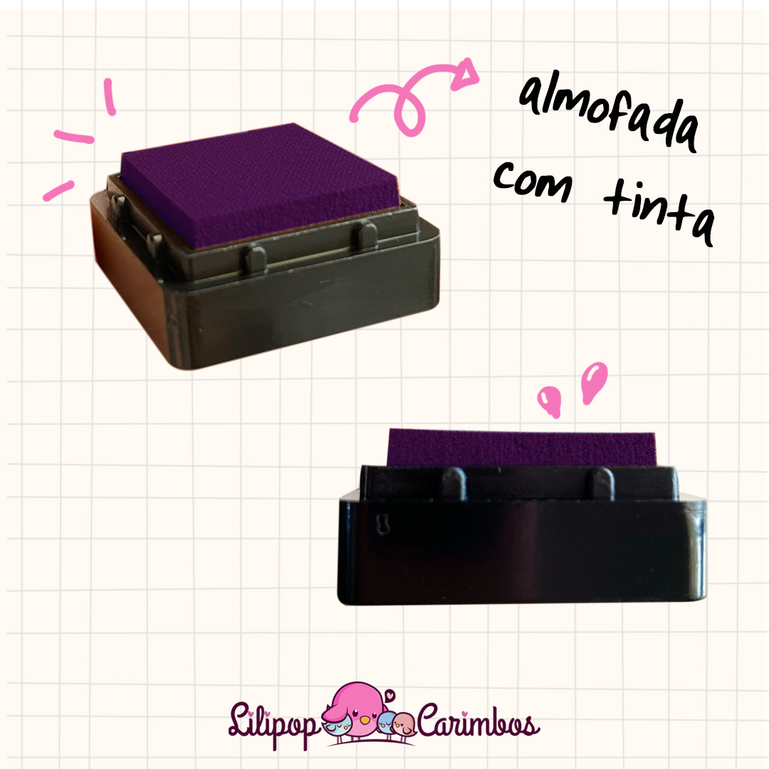 Mini Carimbeira - Cor Violeta - Tinta pigmentada