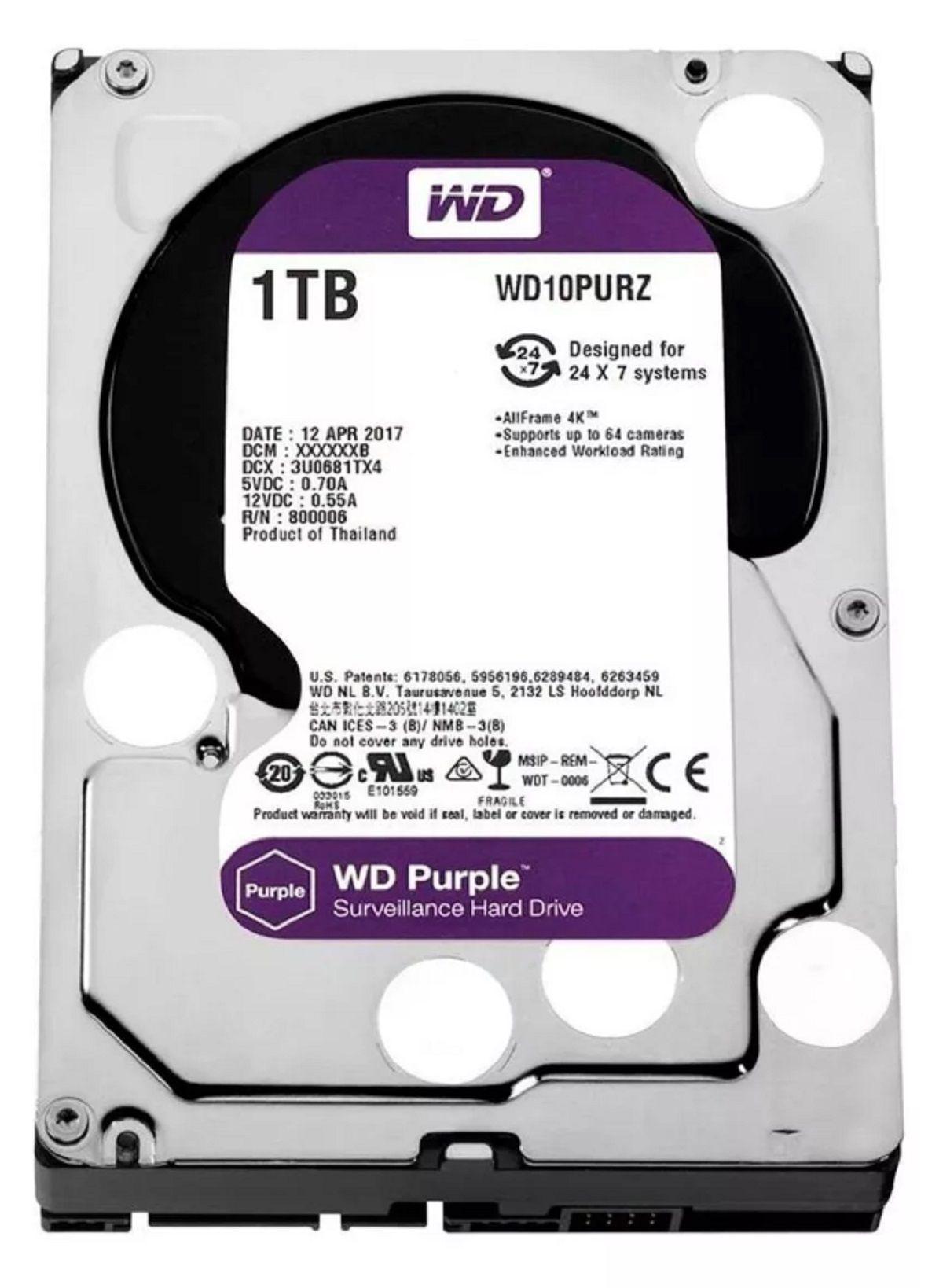 Dvr Intelbras 8 Canais Mhdx 1108 e Hd 1 Tb Purple