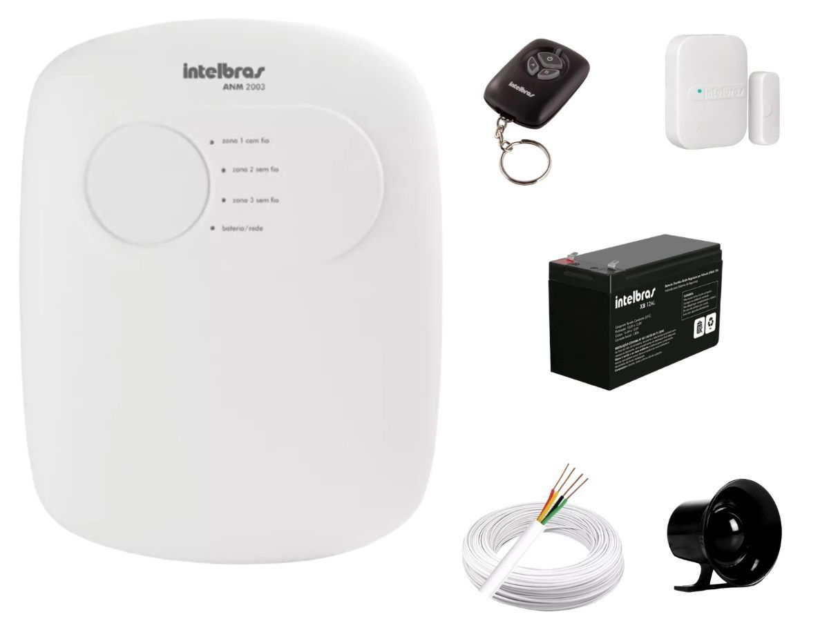 Kit Alarme Intelbras Anm 2003 e 06 Sensores Sem Fio