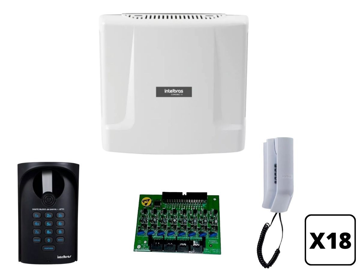 Kit Interfone Coletivo Digital 18 Pontos Intelbras Comunic