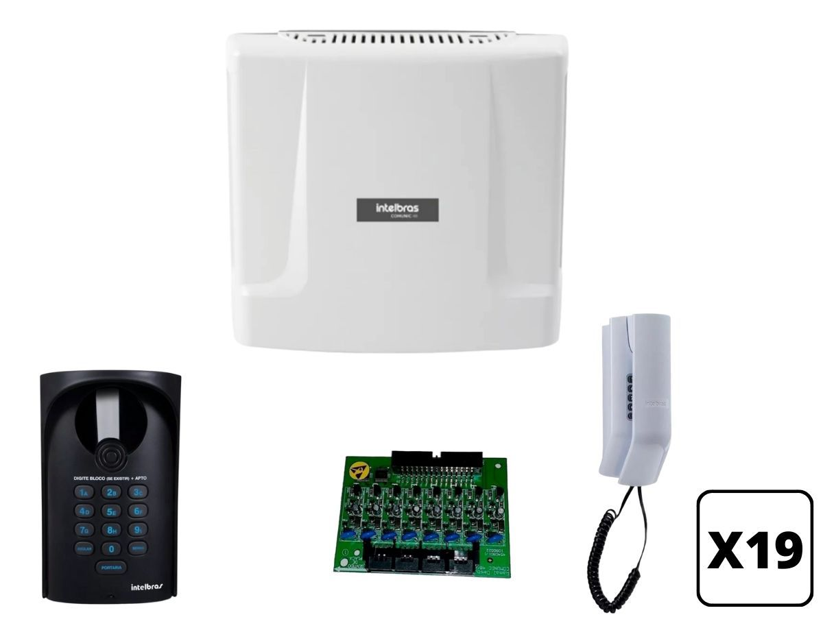 Kit Interfone Coletivo Digital 19 Pontos Intelbras Comunic