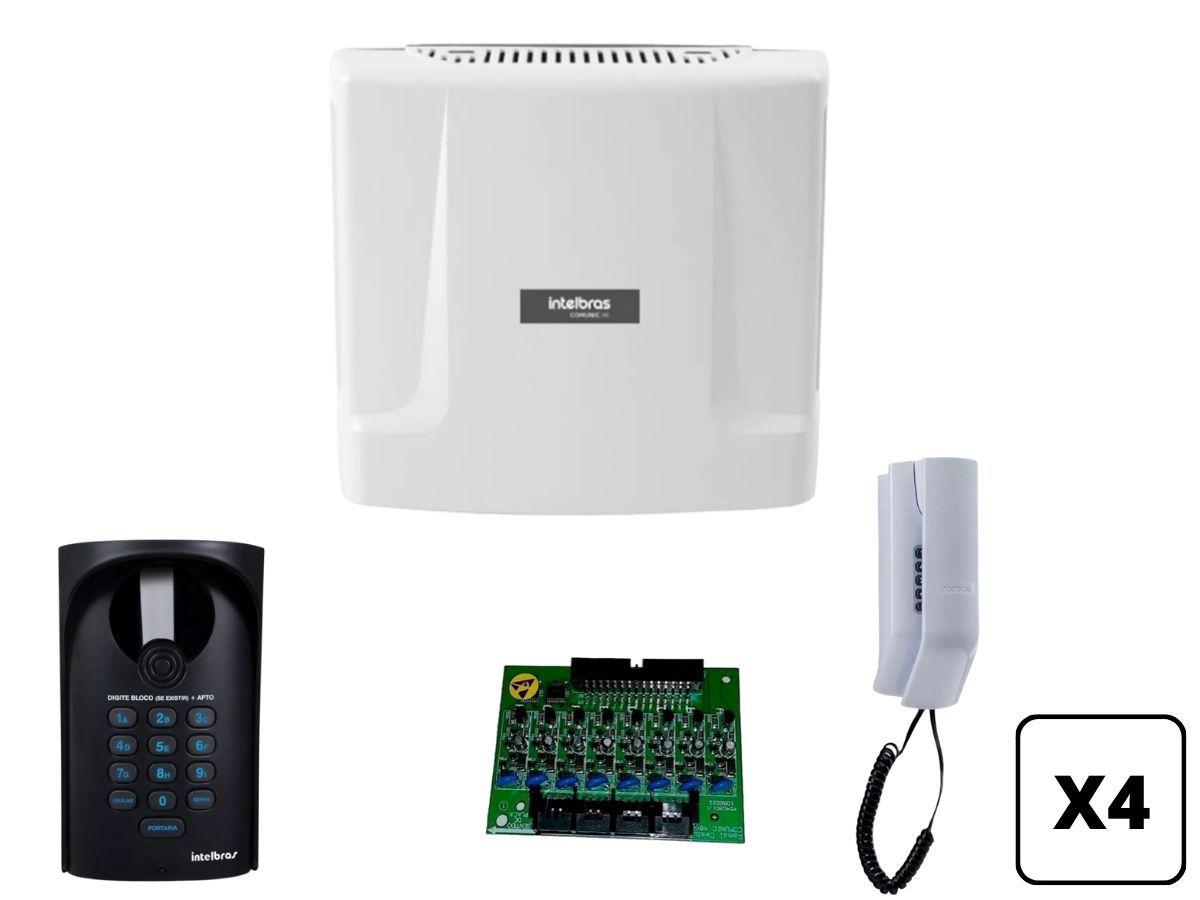 Kit Interfone Portaria Coletivo Comunic 4 Pontos Intelbras
