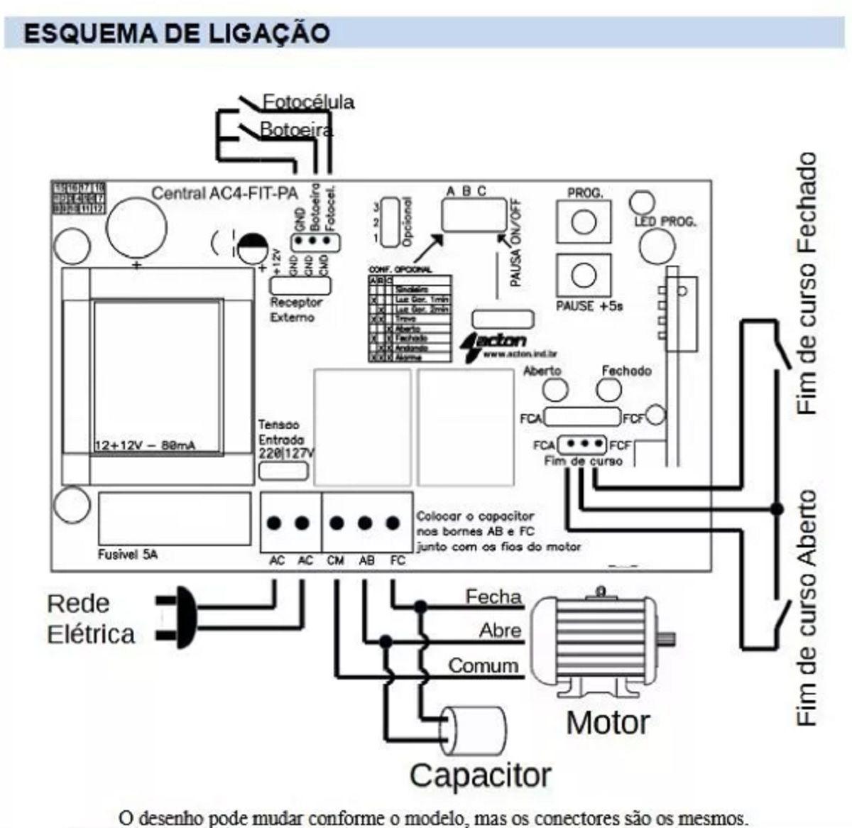 Placa Central Motor Portao Universal Acton 433mhz 1 Controle
