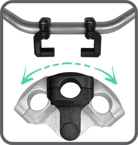 Riser Movel 32 Mm X 32 Mm Adaptador Guidao Prata Par Scam