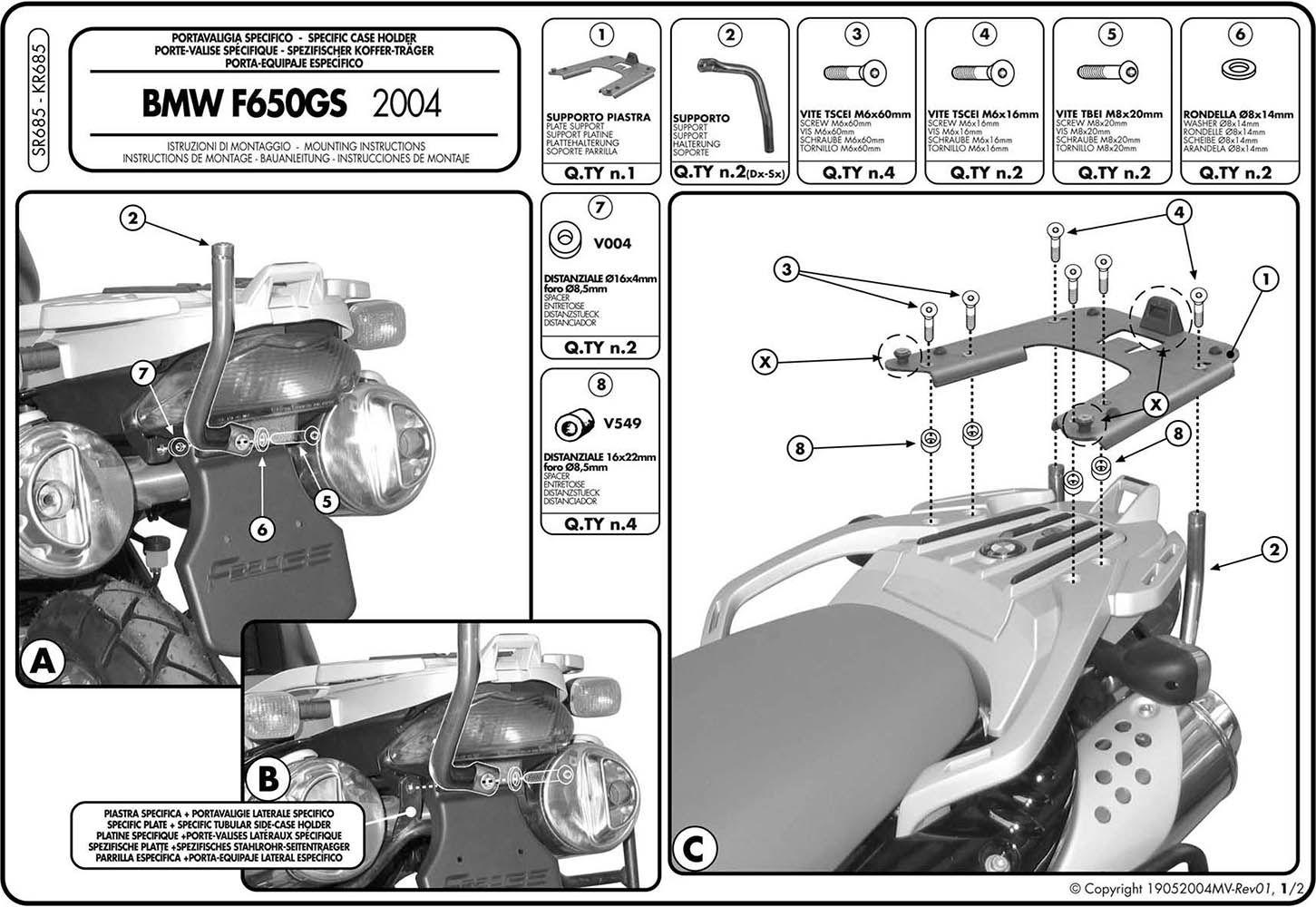 Bagageiro Rack Chapa Bmw G 650 Gs/ F 650 Gs 2010/ Sr 685
