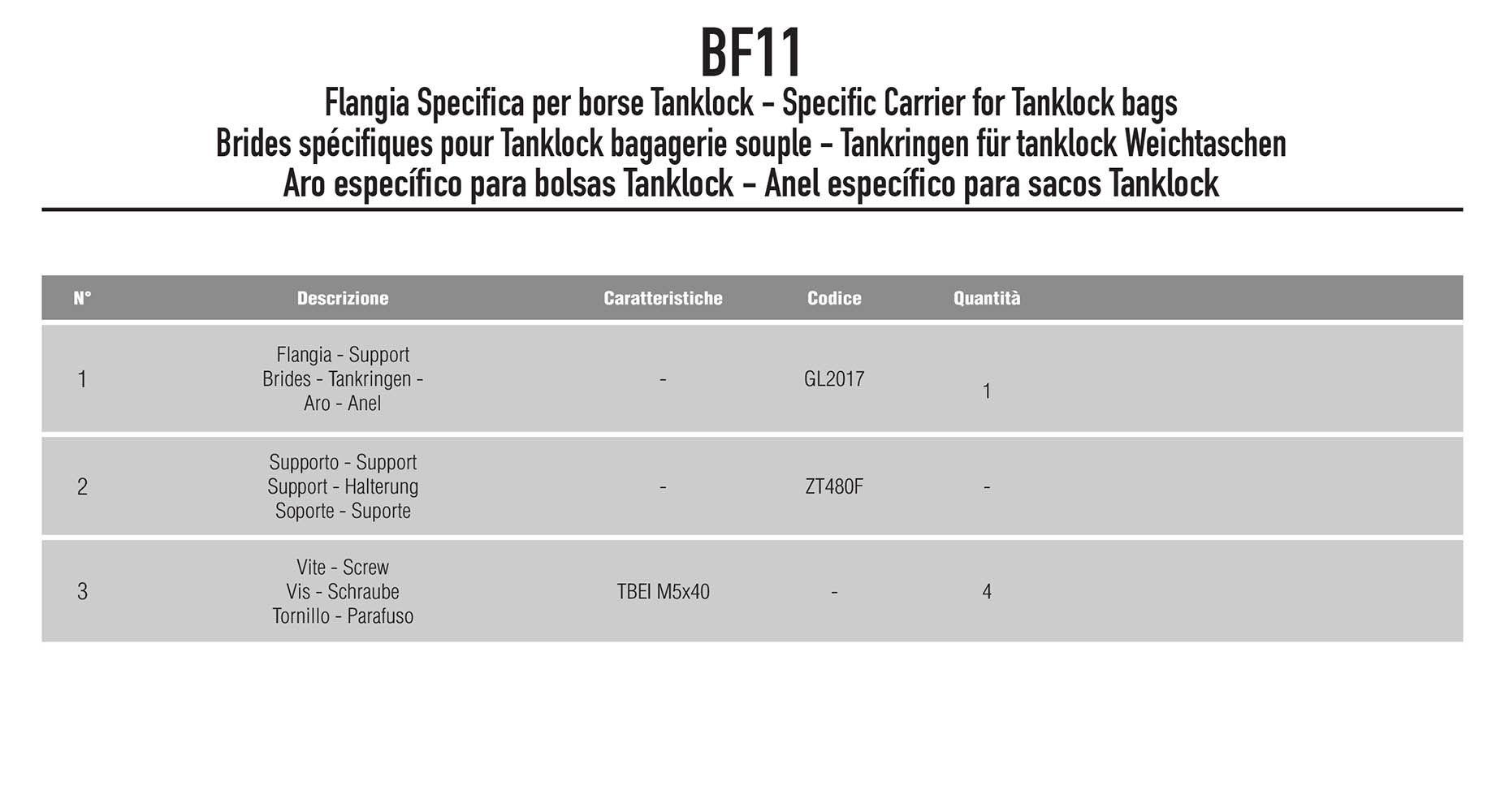 Flange Bolsa Tanklock Multistrada Bf11 Givi