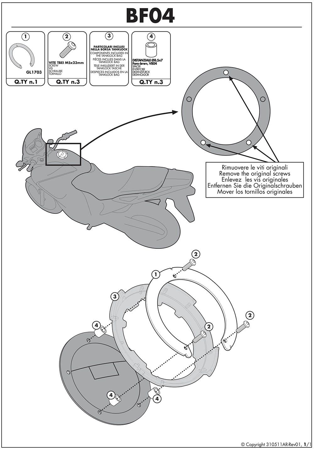 Flange Fixação Bolsas Tanque Tanklock Kawasaki Bf04 Givi