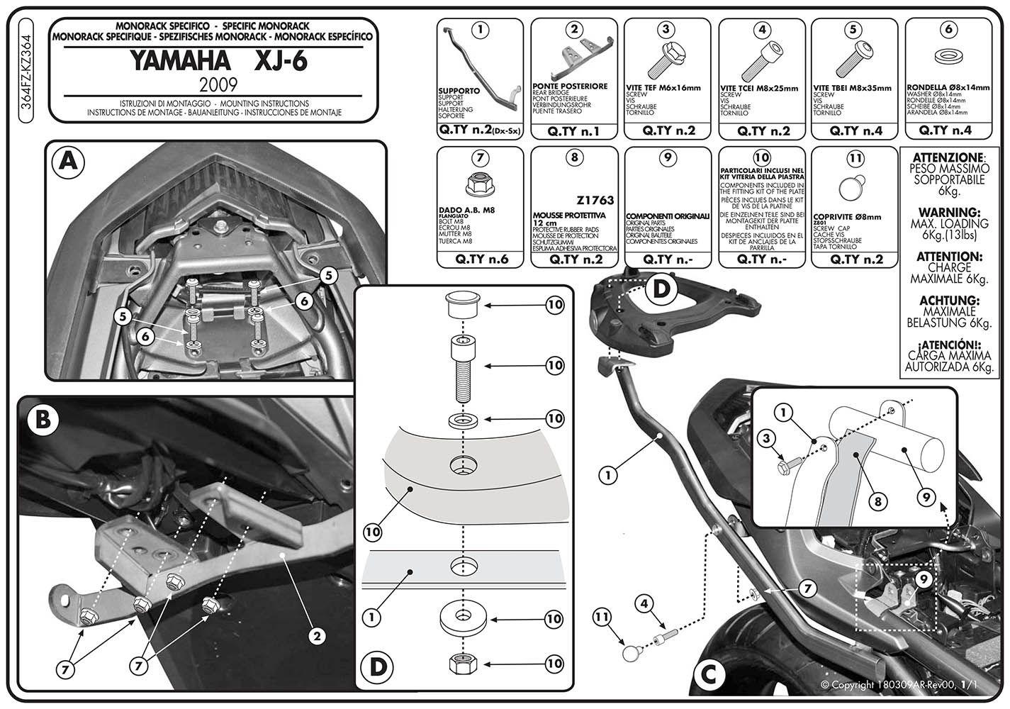 Monorack Bagageiro Xj6, Xj6 Diversion 364 Fz Givi