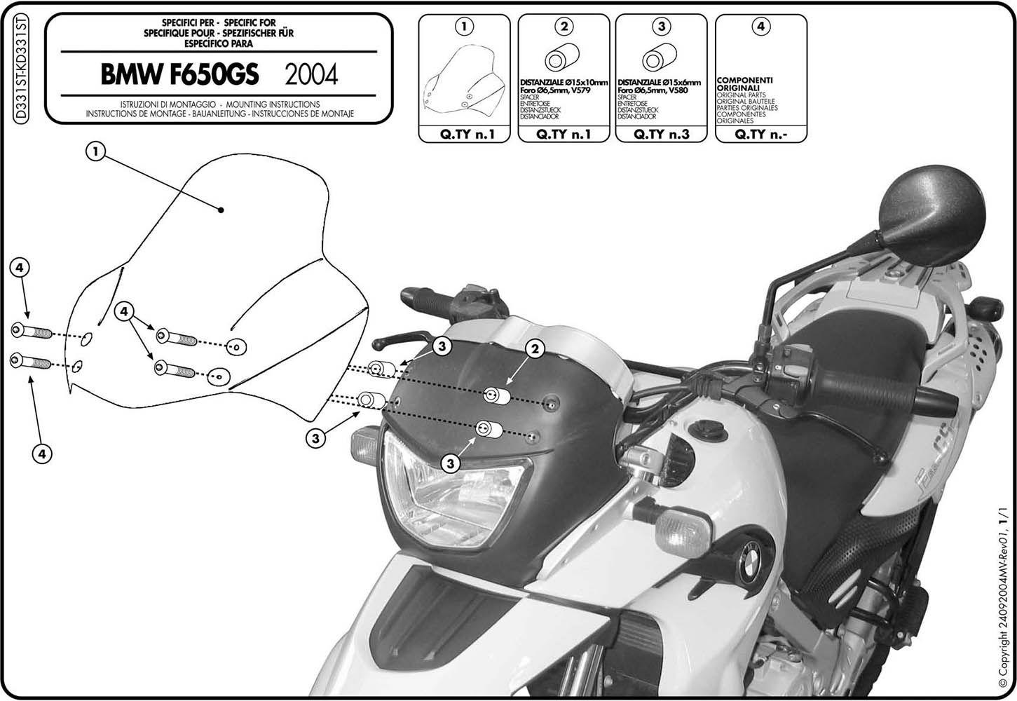 Parabrisa Bolha F 650 Gs Givi D331st 04/07