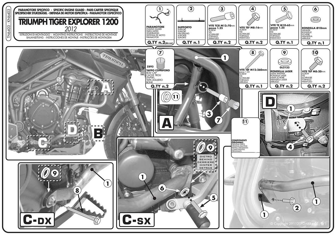 Protetor Motor Tiger 1200 Explorer Tn 6403 Givi