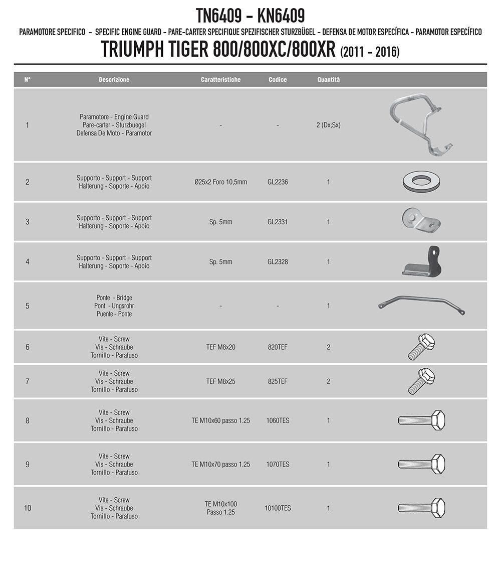 Protetor Motor Tiger 800xc 2011/2018 Tn 6409 Givi