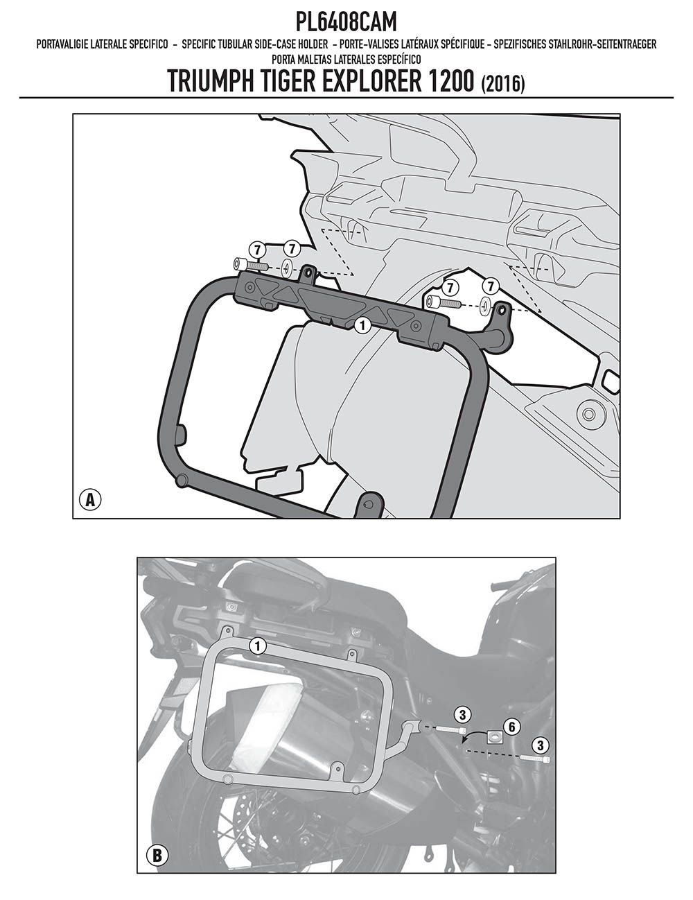 Suporte Lateral Bau Mala Tiger Explorer 1200 Aluminio Givi