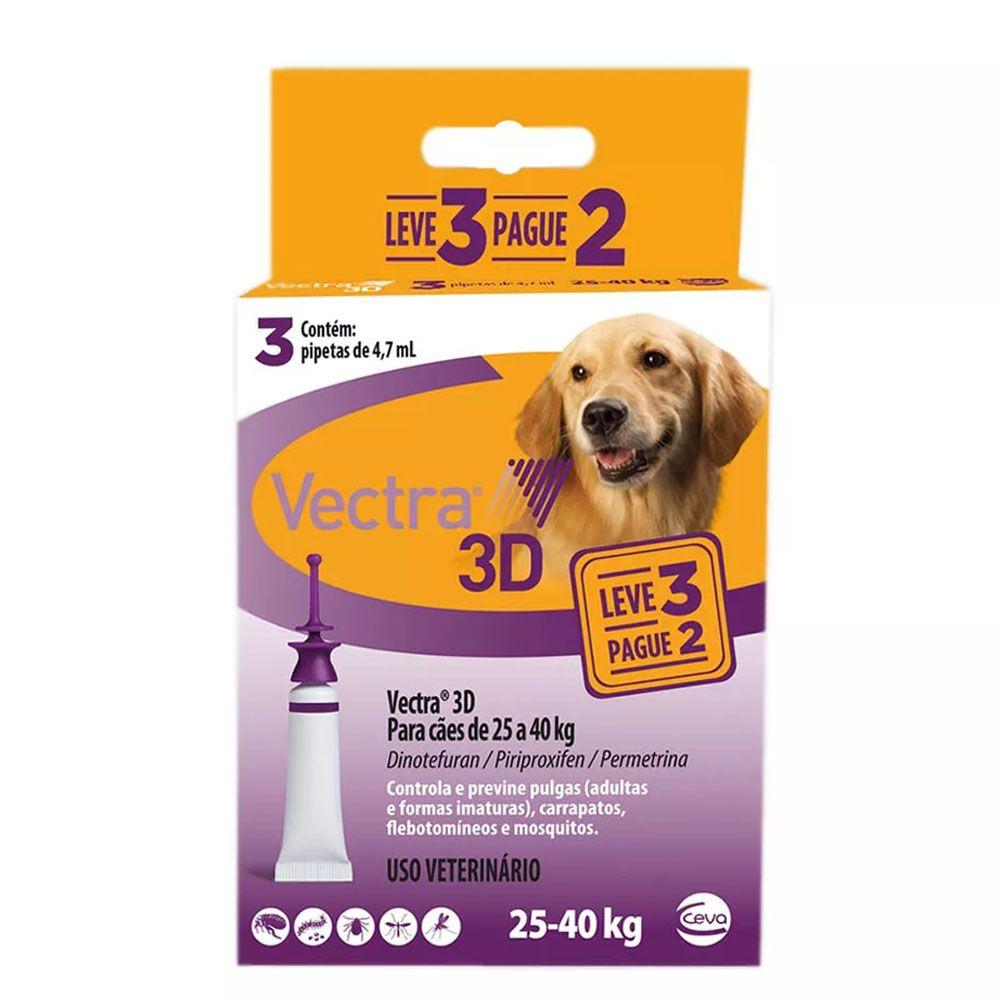 ANTI PULGAS CEVA VECTRA 3D PARA CAES 25a40kg LEVE 3 PAGUE 2