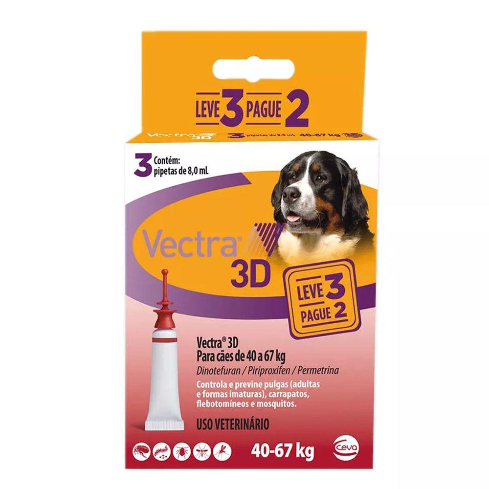 ANTI PULGAS CEVA VECTRA 3D PARA CAES 40a67kg LEVE 3 PAGUE 2