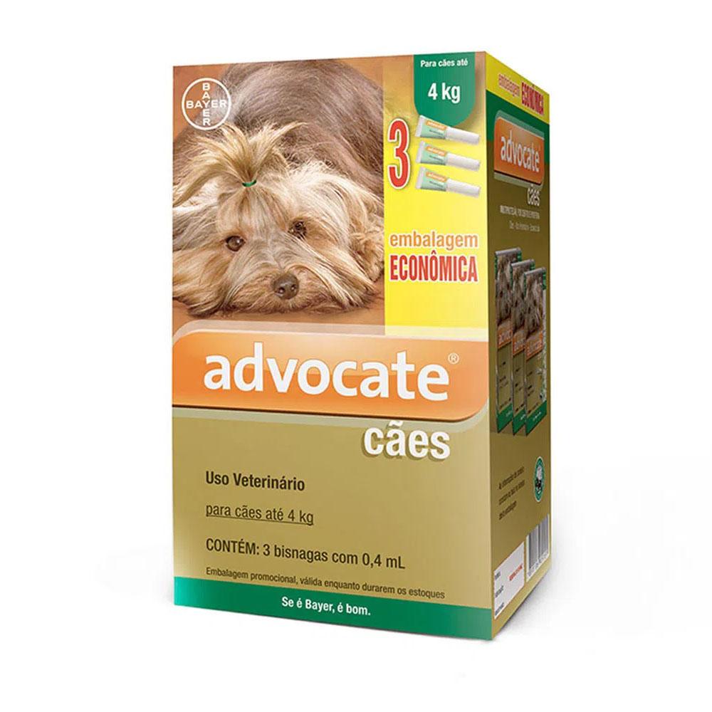 Antipulgas Advocate Bayer Para Cães Até 4kg - 3 pipetas