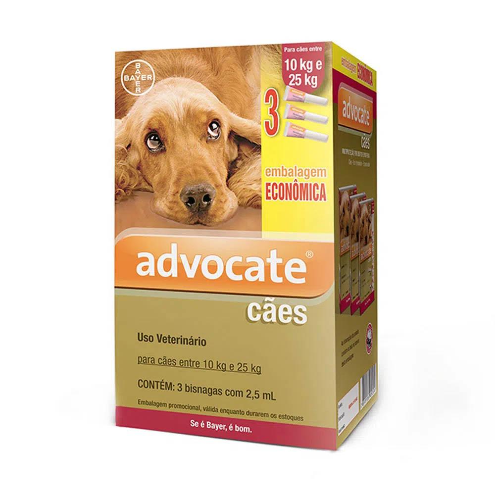 Antipulgas Advocate Bayer para Cães de 10 a 25kg - 3 pipetas