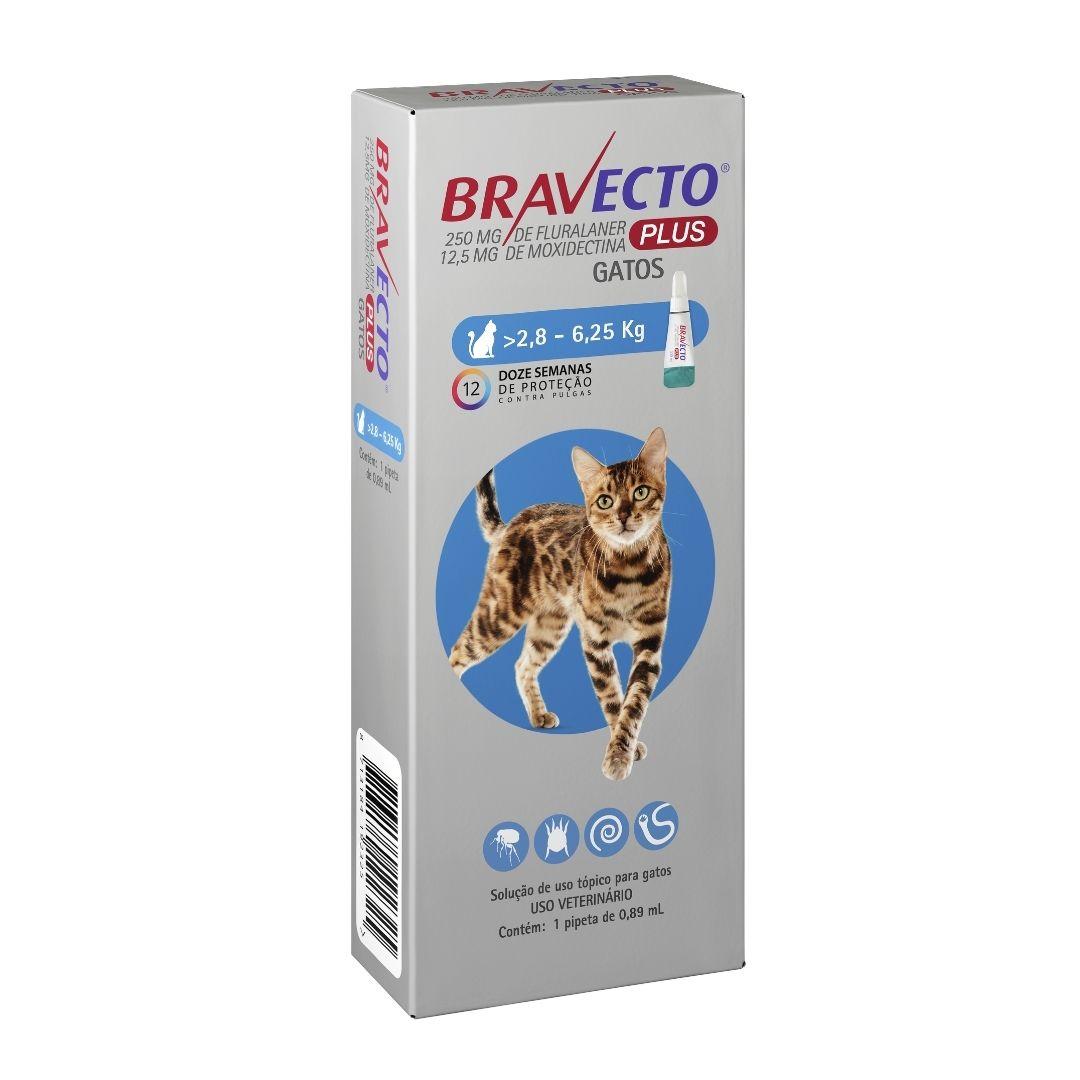 Antipulgas Bravecto Plus Gatos MSD 250mg para gatos de 2,8 a 6,25kg