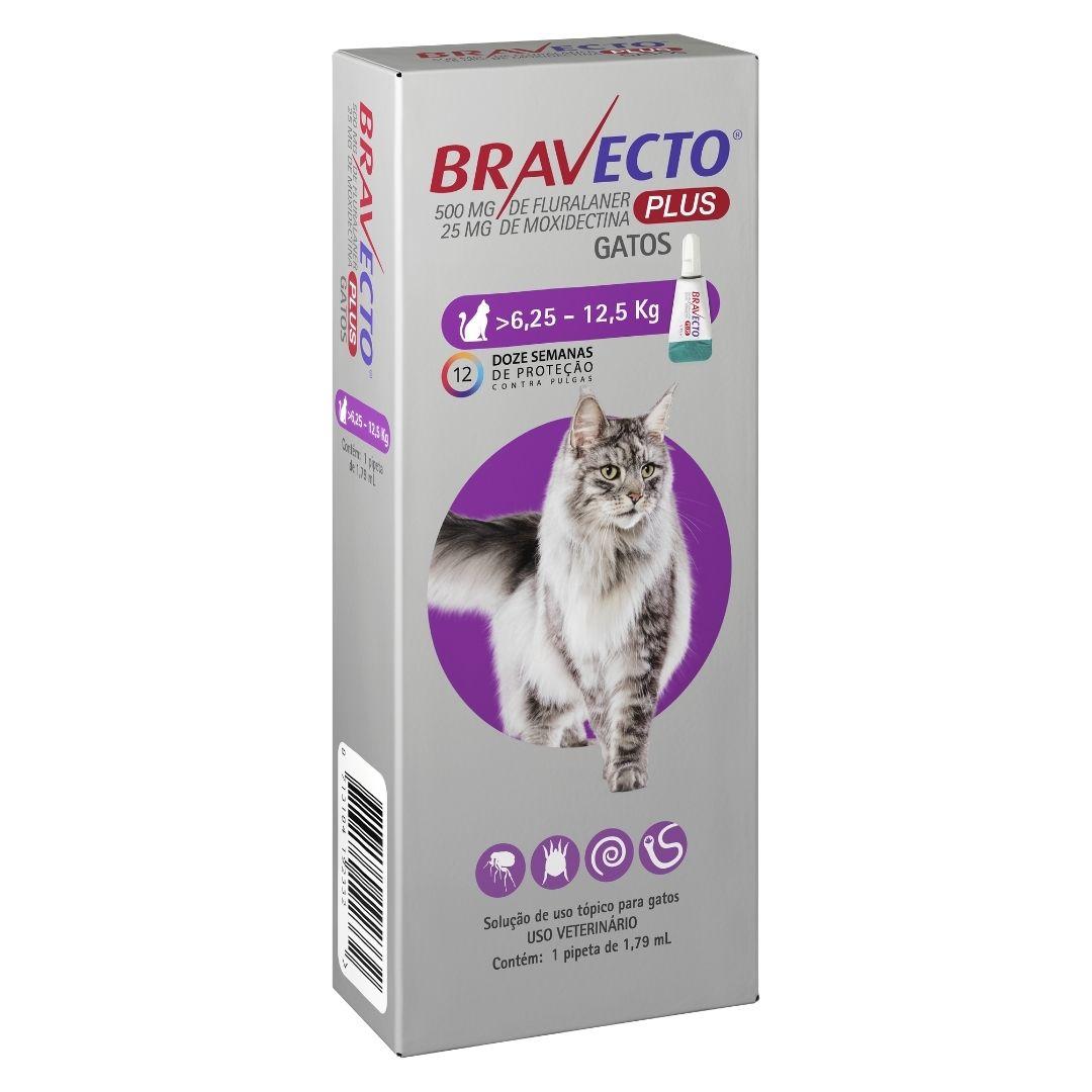 Antipulgas Bravecto Plus Gatos MSD 500mg para Gatos de 6,25 a 12,5kg