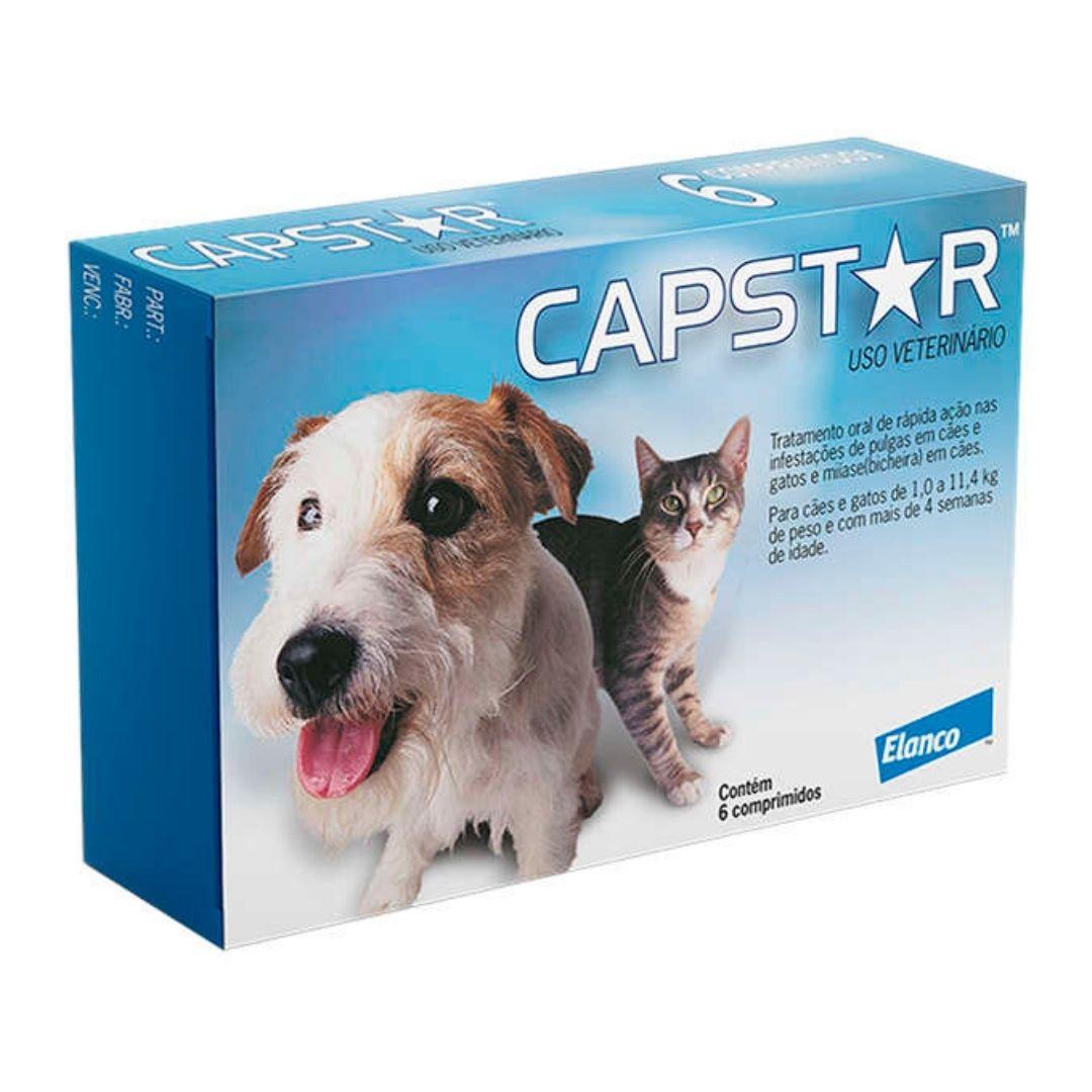 Antipulgas Capstar Elanco 11.4 mg para Cães e Gatos de até 11,4kg - 6 Comprimidos