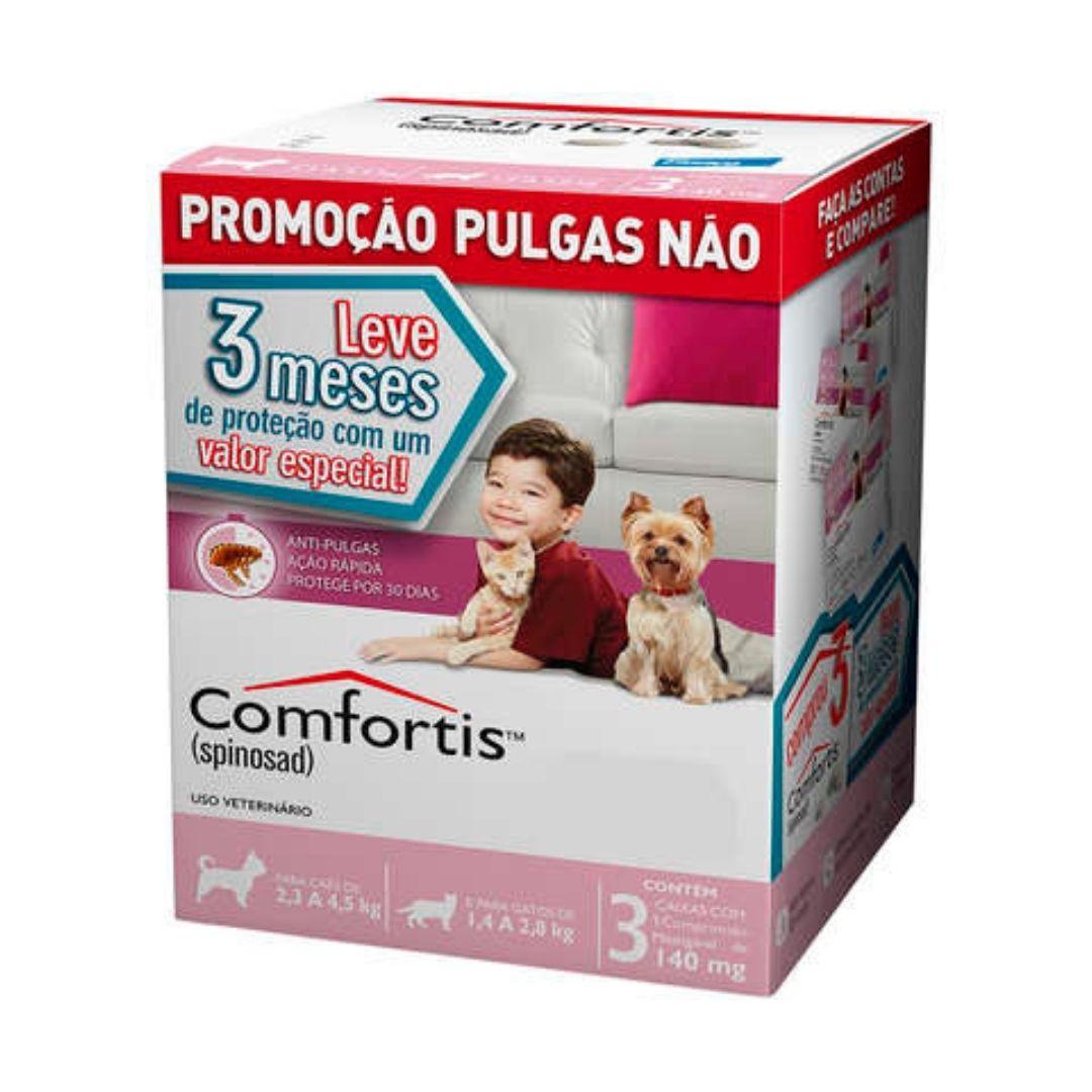 Antipulgas Comfortis Elanco  140mg para Cães de 2,3 a 4,5kg e Gatos de 1,4 a 2,8kg  - 3 meses de Proteção