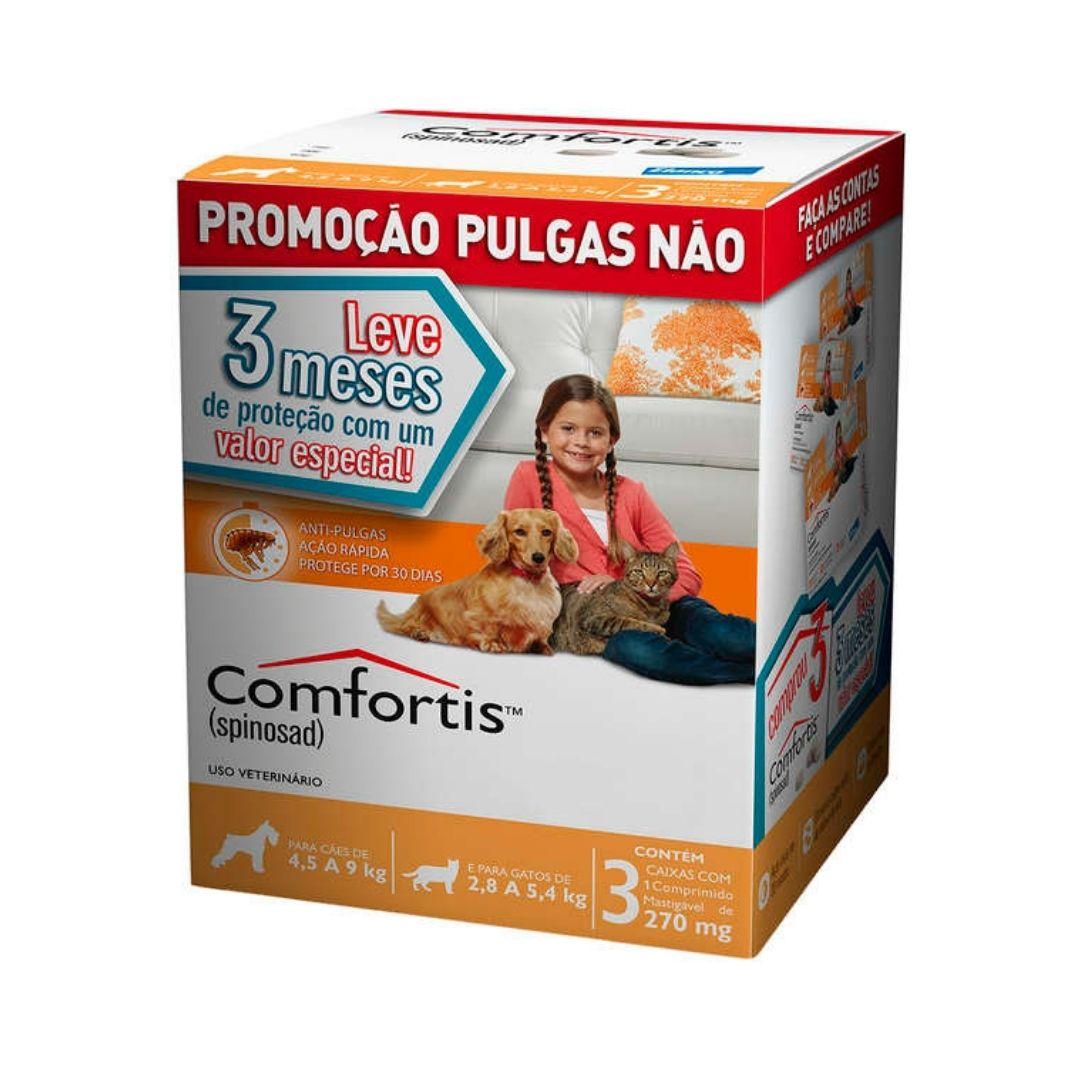 Antipulgas Comfortis Elanco  270mg para Cães de 4,5 a 9kg e Gatos de 2,8 a 5,4kg  - 3 meses de Proteção