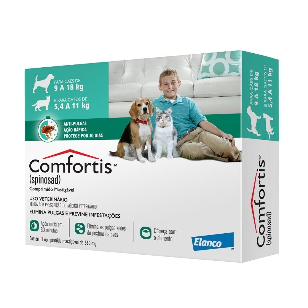 Antipulgas Comfortis Elanco  560mg para Cães de 9 a 18kg e Gatos de 5,4 a 11kg