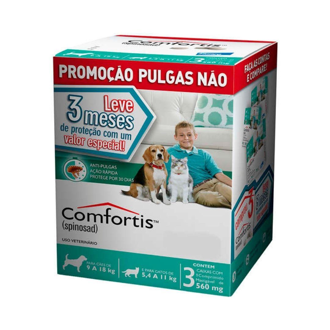 Antipulgas Comfortis Elanco  560mg para Cães de 9 a 18kg e Gatos de 5,4 a 11kg  - 3 meses de Proteção