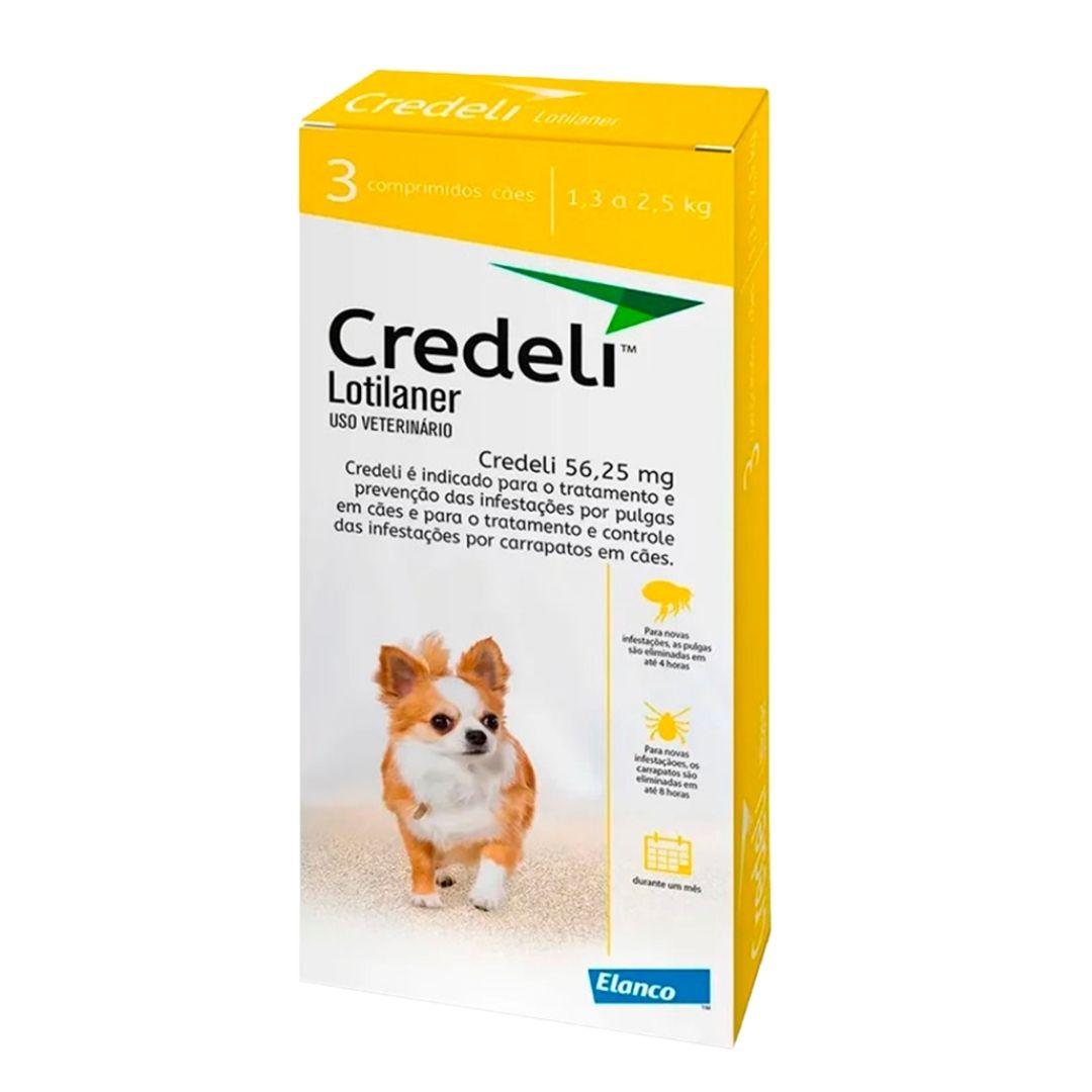 Antipulgas e Carrapatos Credeli Elanco  56.25mg para Cães de 1,3 a 2,5kg