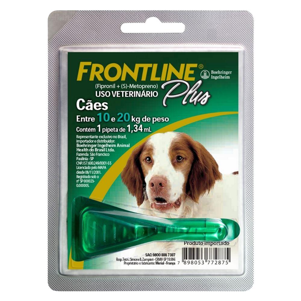 Antipulgas e Carrapatos Frontline Plus Boehringer Cães de 10 a 20Kg