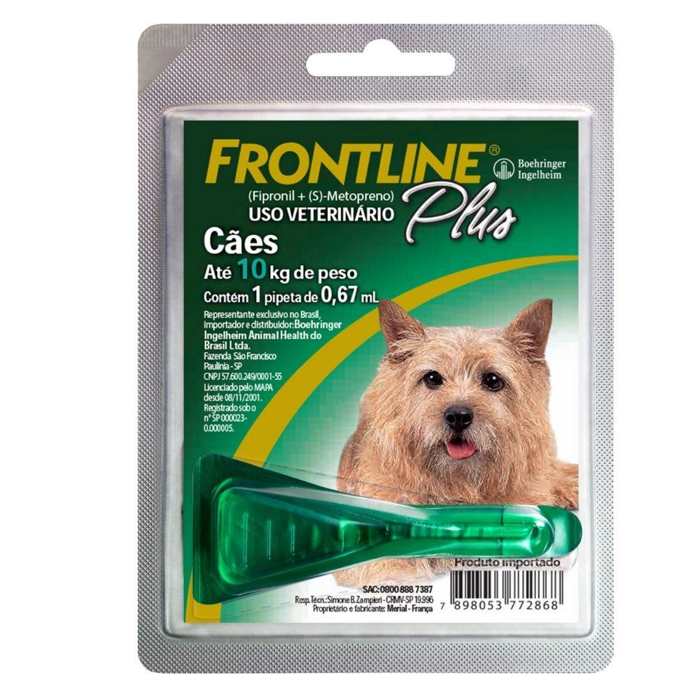 Antipulgas e Carrapatos Frontline Plus Boehringer Cães de 1 a 10kg