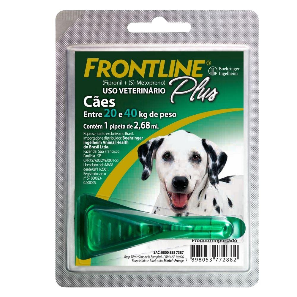 Antipulgas e Carrapatos Frontline Plus Boehringer Cães de 20 a 40Kg