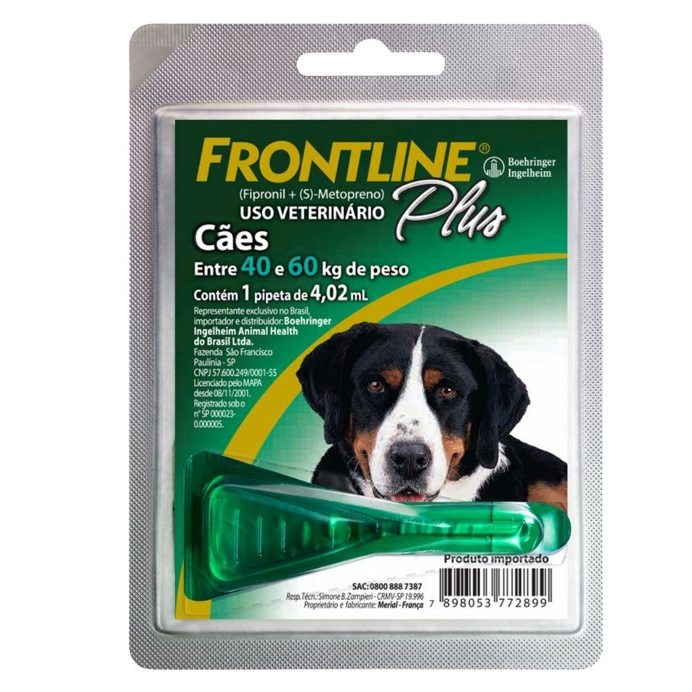 Antipulgas e Carrapatos Frontline Plus Boehringer Cães de 40 a 60Kg