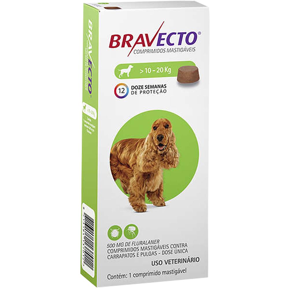 Antipulgas e Carrapatos MSD Bravecto para Cães de 10 a 20 Kg - 1000mg