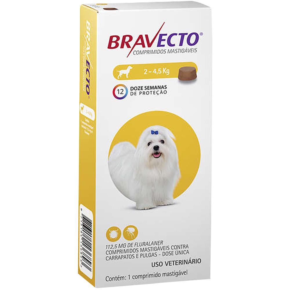 Antipulgas e Carrapatos MSD Bravecto para Cães de 2 a 4,5 Kg - 112,5mg