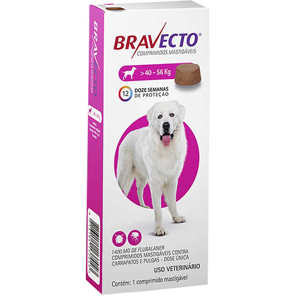 Antipulgas e Carrapatos MSD Bravecto para Cães de 40 a 56 Kg - 1400mg