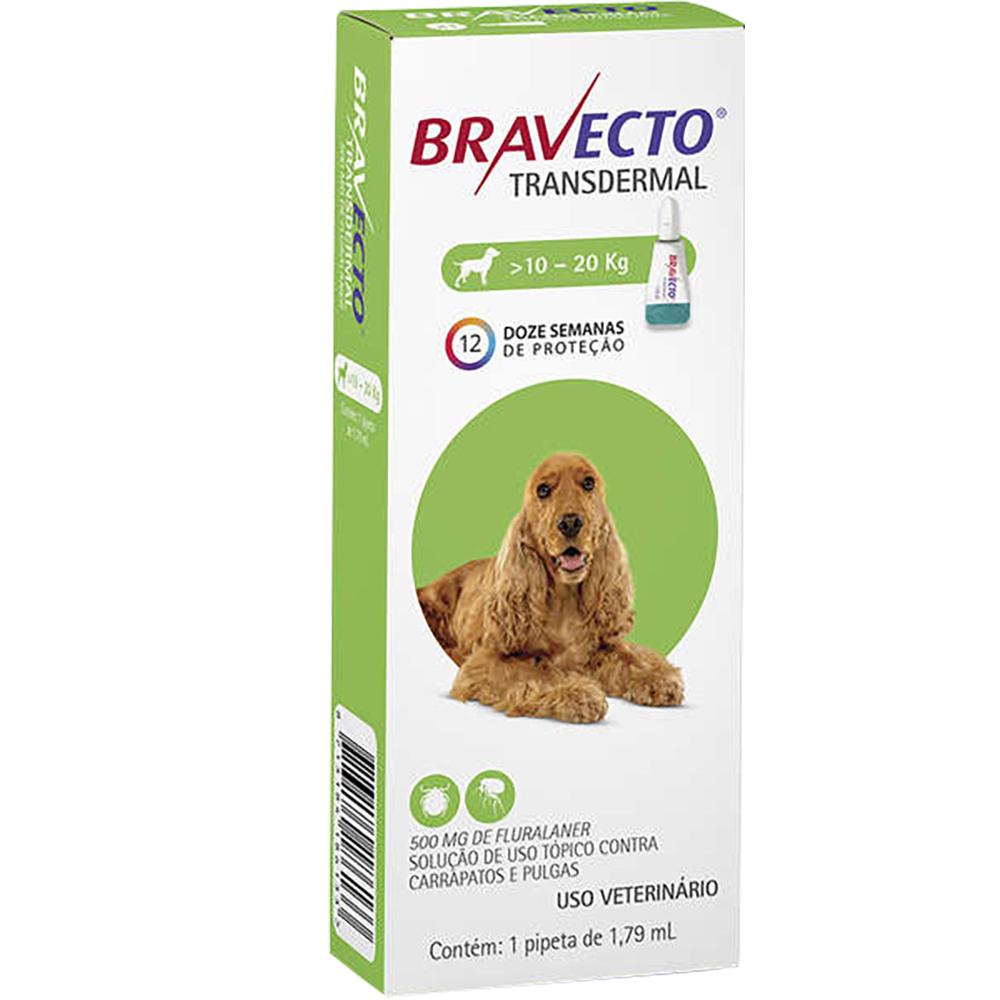 Antipulgas e Carrapatos MSD Bravecto Transdermal para Cães de 10 a 20 Kg - 500mg