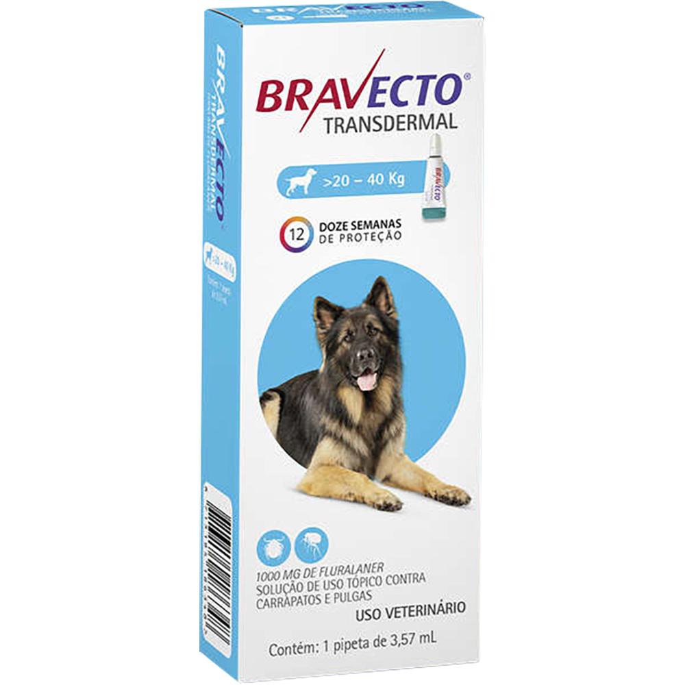 Antipulgas e Carrapatos MSD Bravecto Transdermal para Cães de 20 a 40 Kg - 1000mg