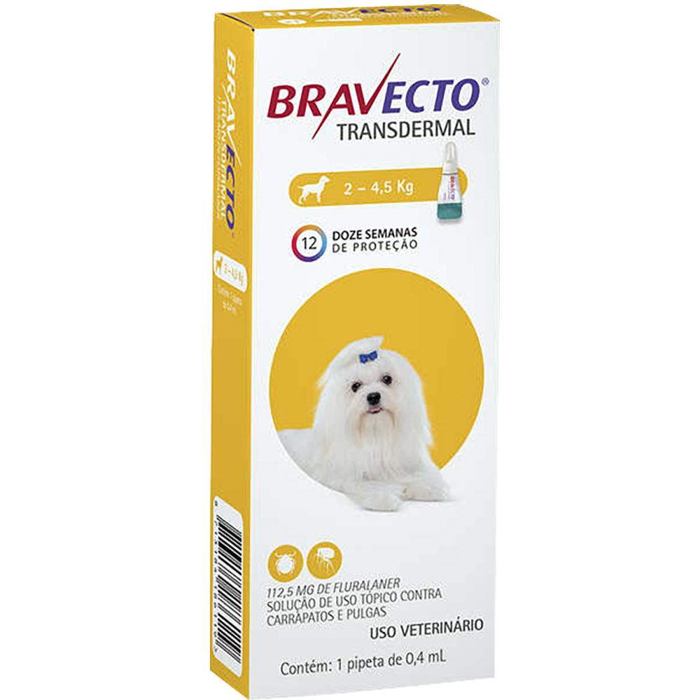 Antipulgas e Carrapatos MSD Bravecto Transdermal para Cães de 2 a 4,5 Kg - 112,5mg