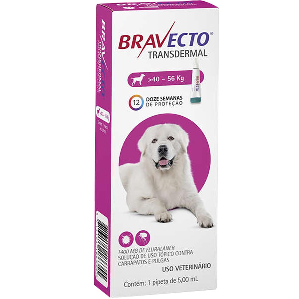 Antipulgas e Carrapatos MSD Bravecto Transdermal para Cães de 40 a 56 Kg - 1400mg