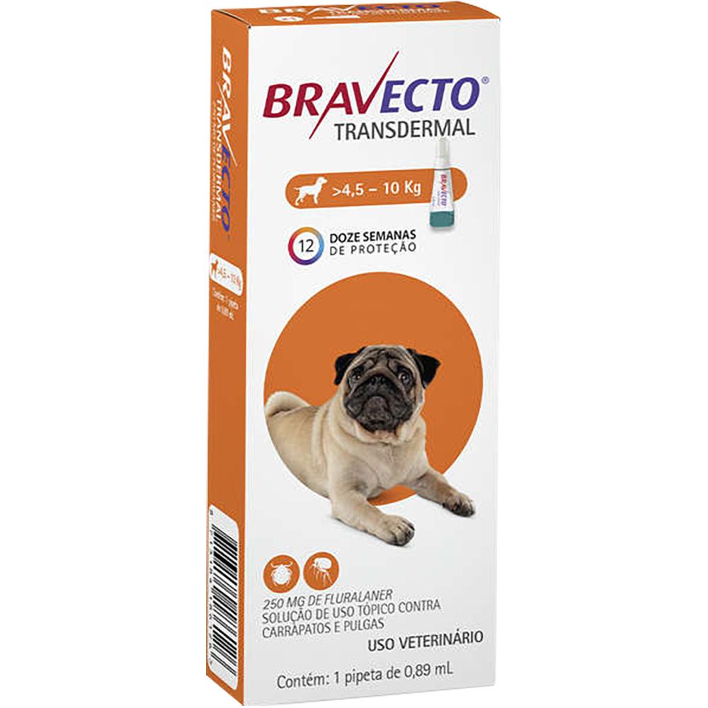 Antipulgas e Carrapatos MSD Bravecto Transdermal para Cães de 4,5 a 10 Kg - 250mg
