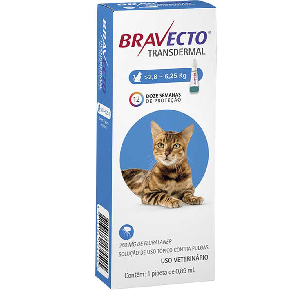 Antipulgas e Carrapatos MSD Bravecto Transdermal para Gatos de 2,8 a 6,25 Kg - 250mg