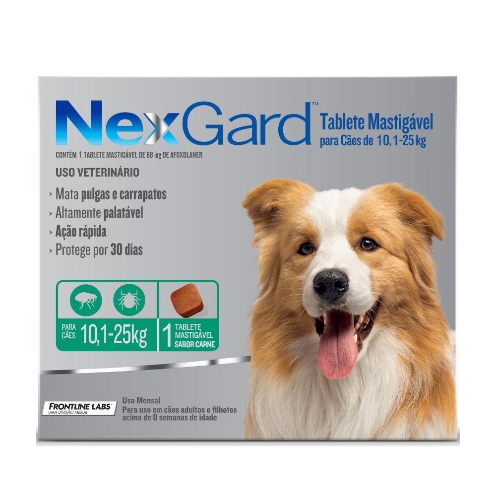 Antipulgas e Carrapatos NexGard Boehringer para Cães de 10,1 a 25kg - 1 Tablete