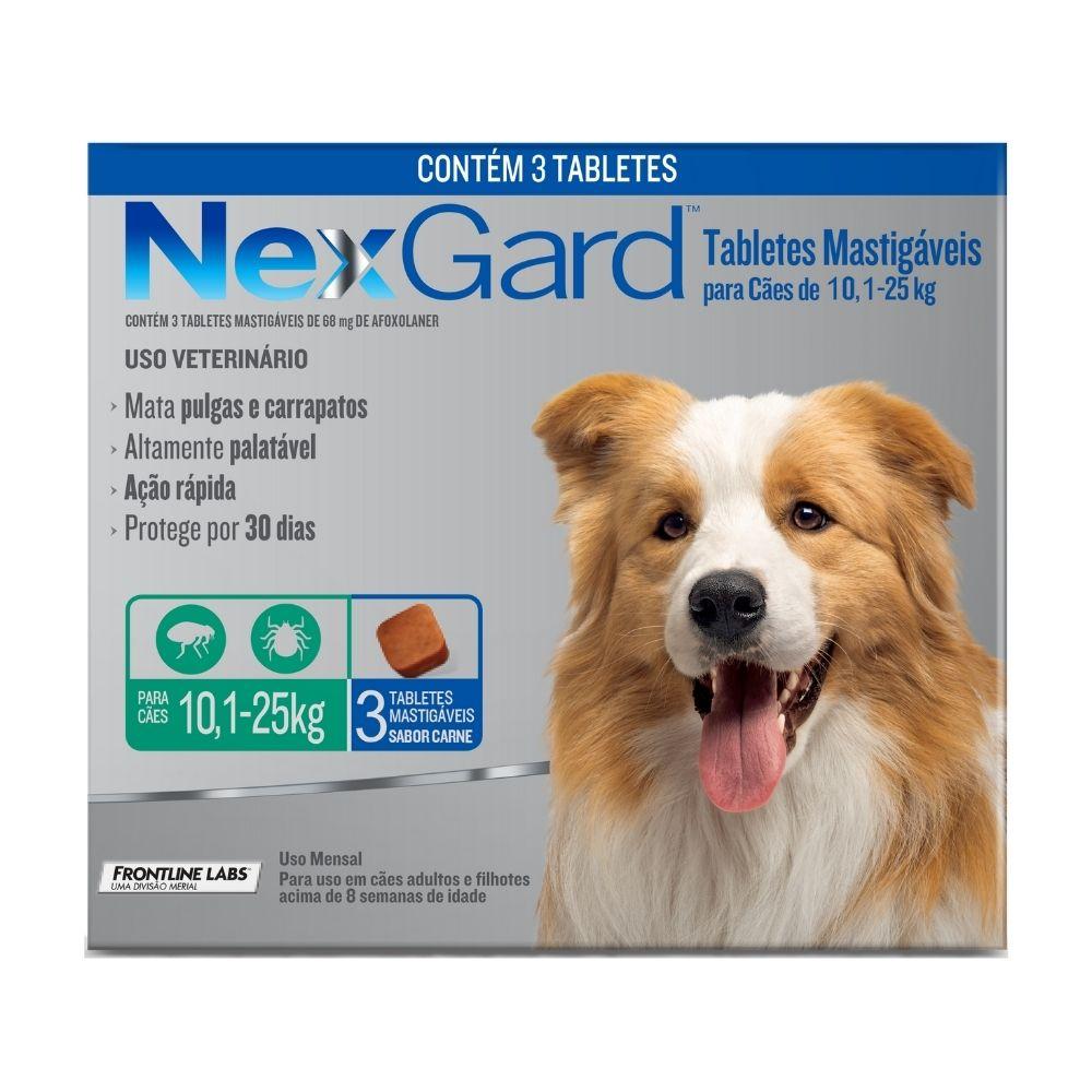 Antipulgas e Carrapatos NexGard Boehringer para Cães de 10,1 a 25kg - 3 Tabletes
