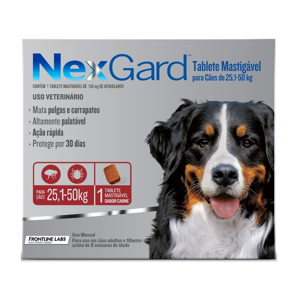 Antipulgas e Carrapatos NexGard Boehringer para Cães de 25,1 a 50kg - 1 Tablete