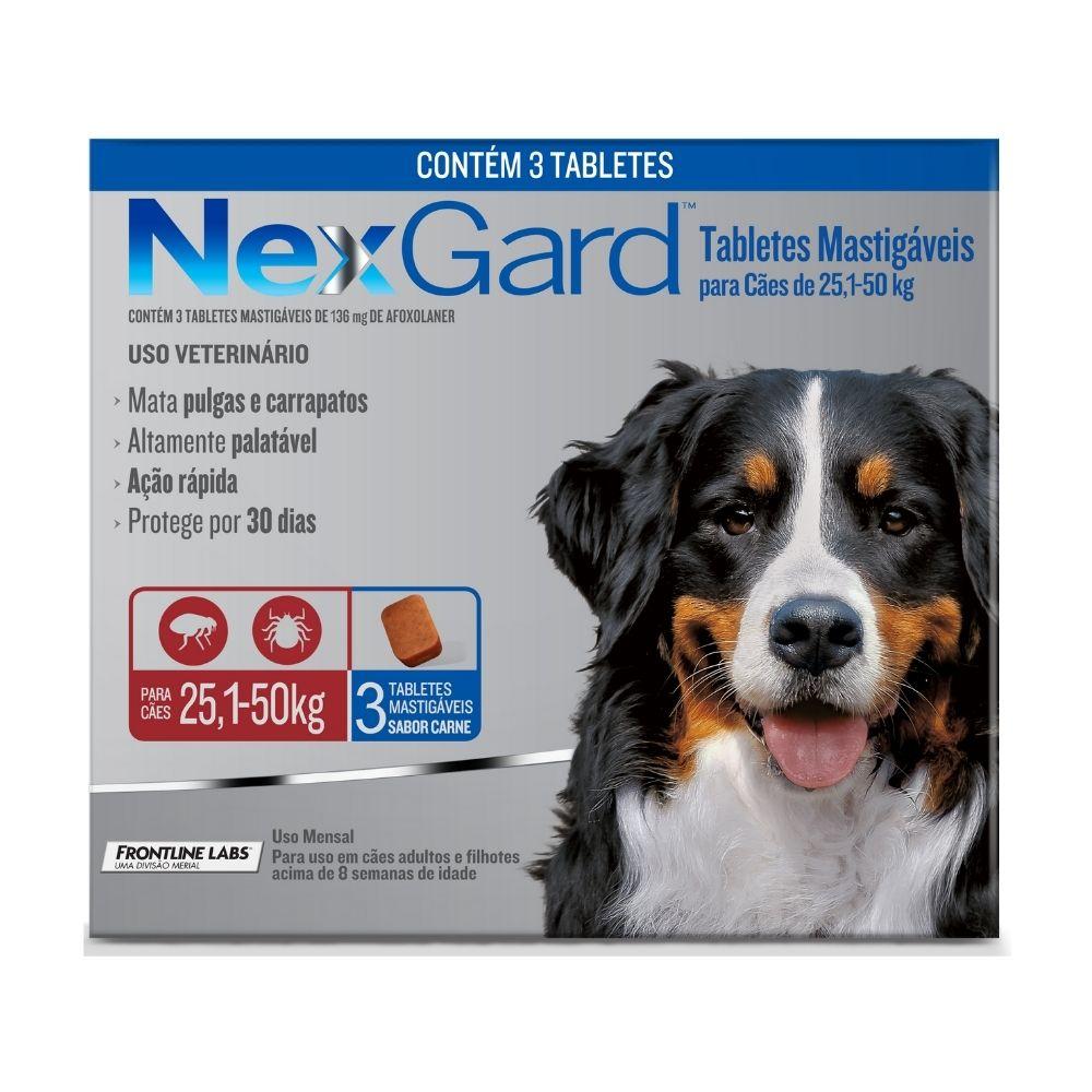 Antipulgas e Carrapatos NexGard Boehringer para Cães de 25,1 a 50kg - 3 Tabletes