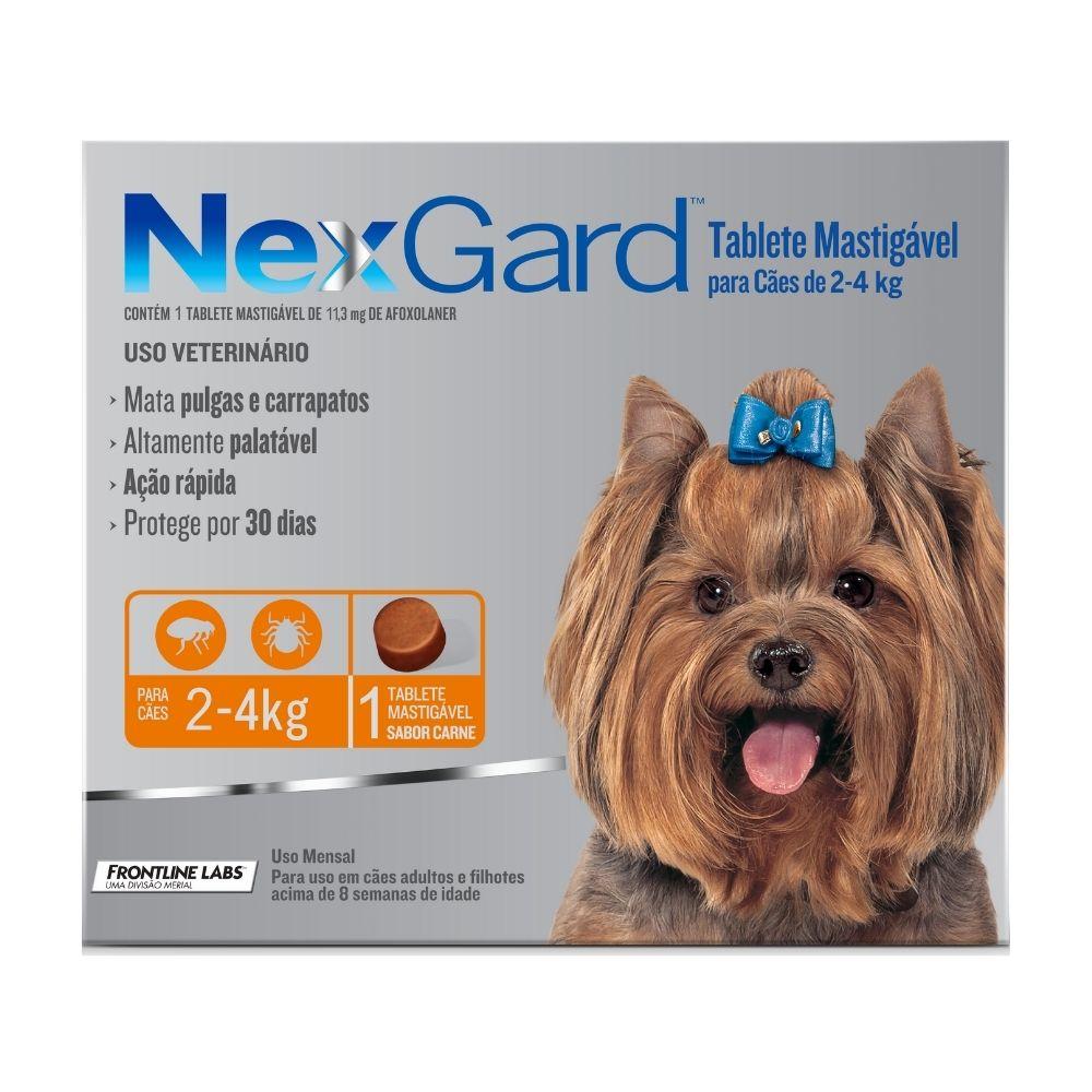 Antipulgas e Carrapatos NexGard Boehringer para Cães de  2 a 4kg - 1 Tablete