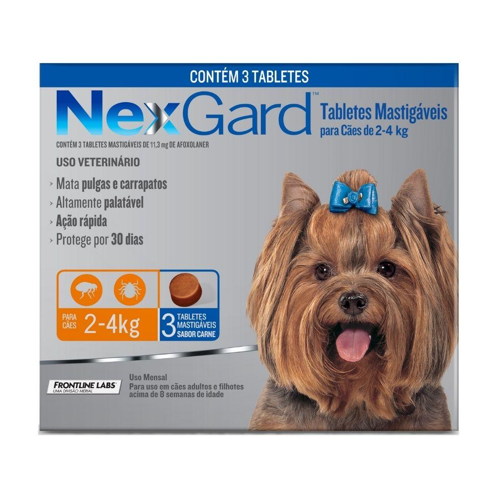 Antipulgas e Carrapatos NexGard Boehringer para Cães de  2 a 4kg - 3 Tabletes